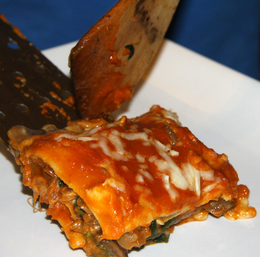Lasagna of Spinach with Kale and Three Mushrooms