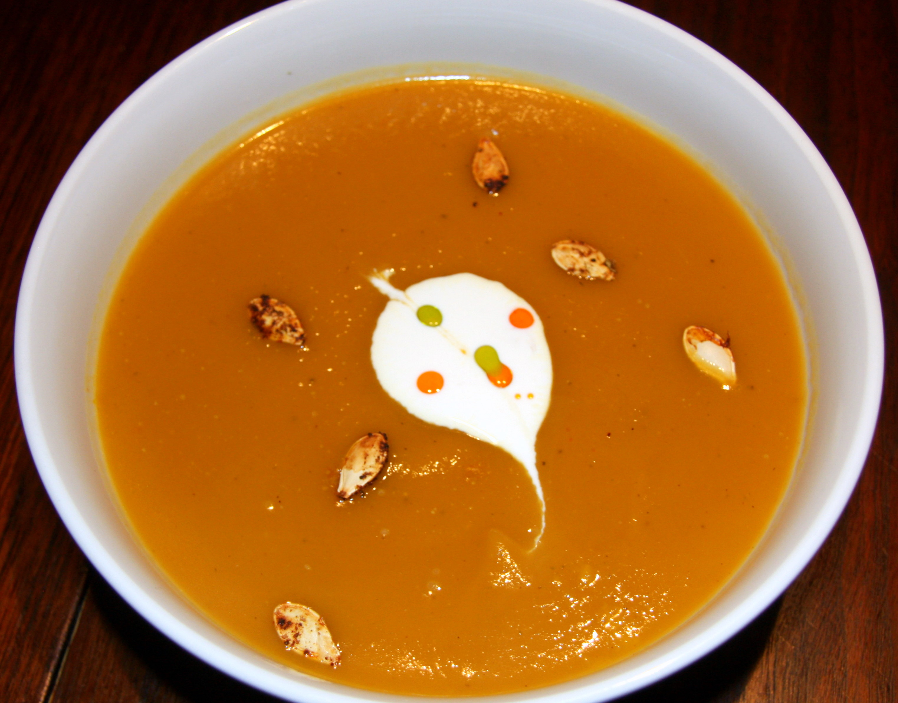 SAN DIEGO: Pumpkin Soup with Chipotle Seeds and Crema Mexicana