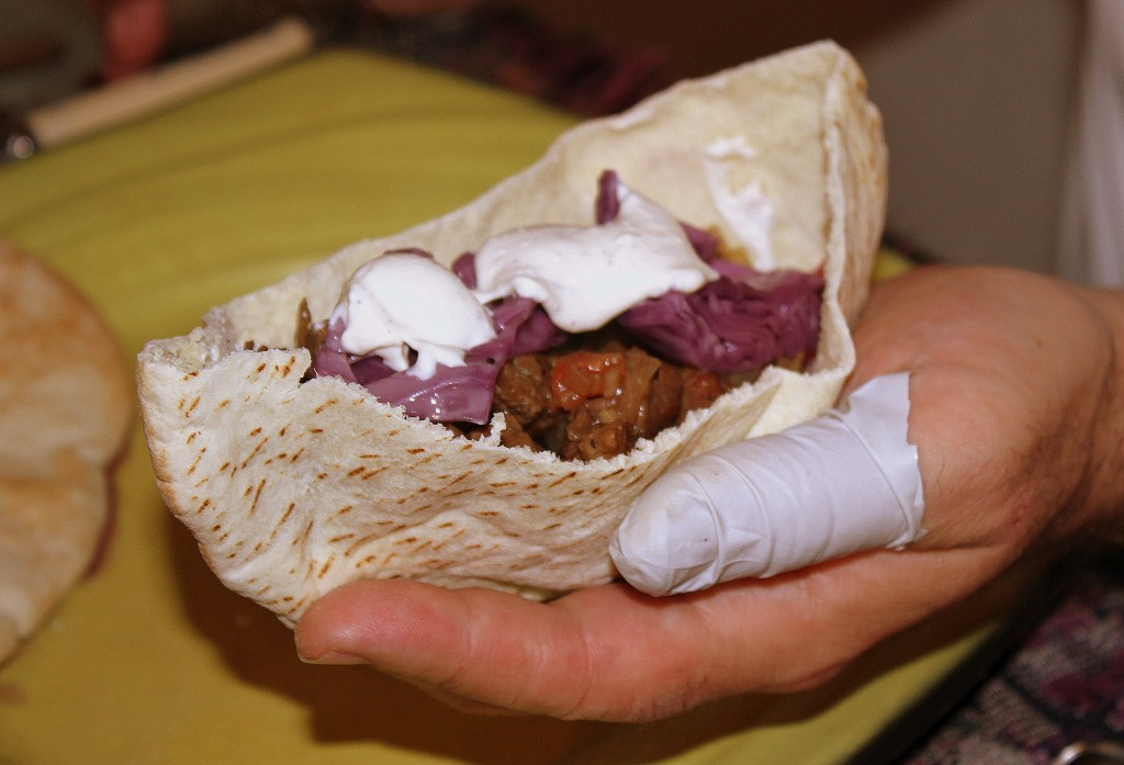 ISRAEL: Coffee Braised Lamb Shoulder in Pita