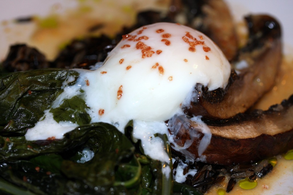 Seared Portobello Mushrooms with Lacinto Kale, Quinoa, Poached Egg and Mustard Reduction Sauce