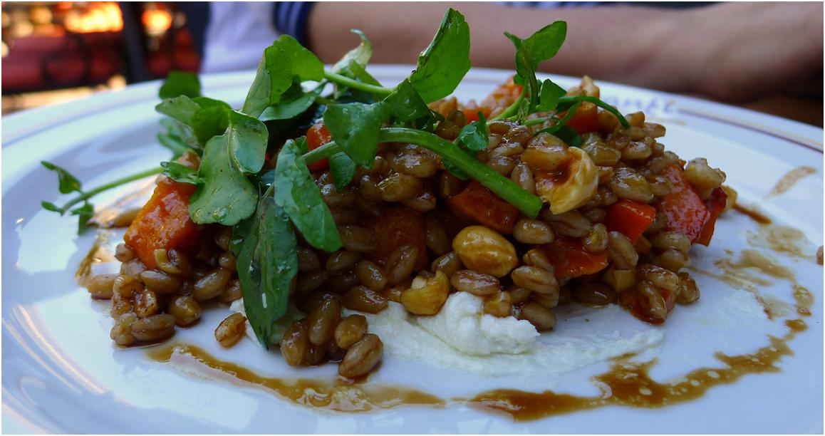Roasted squash + farro + goat cheese + hazelnuts + watercress