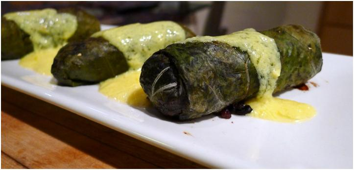 Stuffed Mallow Leaves with Himalayan Black Rice, Mushrooms and Lemon Hollandaise