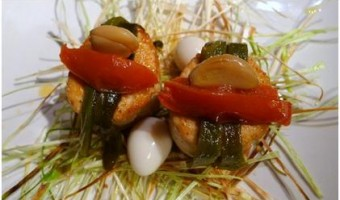 BAJA MED CUISINE:  Bird's Nest of Leeks and Chicken with Three Confits