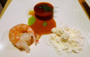 Spot Prawns with Bacon Snow and Tomato Prawn Gel