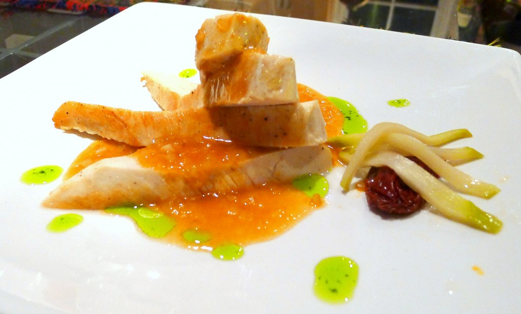 Sous Vide Chicken Breast with Sherry Chipotle Sauce and Pickled Chayote