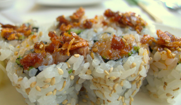 Spicy Yellowtail Roll with Crunchy Red Pepper