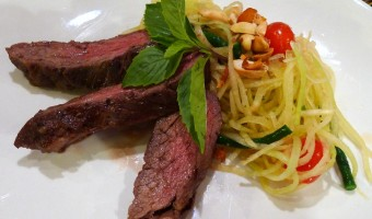 RECIPE:  Spicy Papaya Salad with Grilled Beef