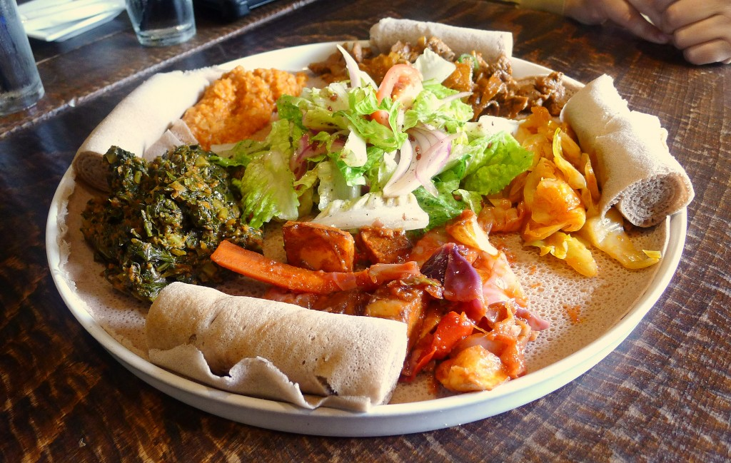 Injera plate full of dishes