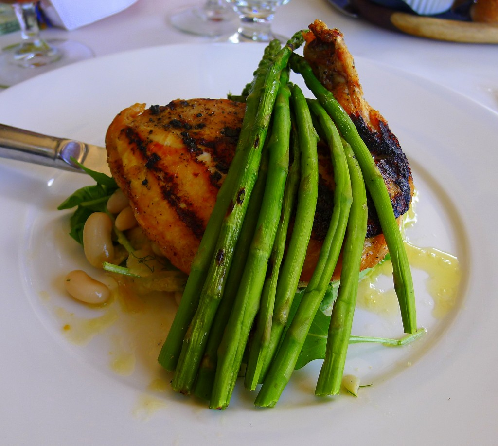 grilled jidori chicken breast with cannellini bean, orange, fennel salad and grilled asparagus