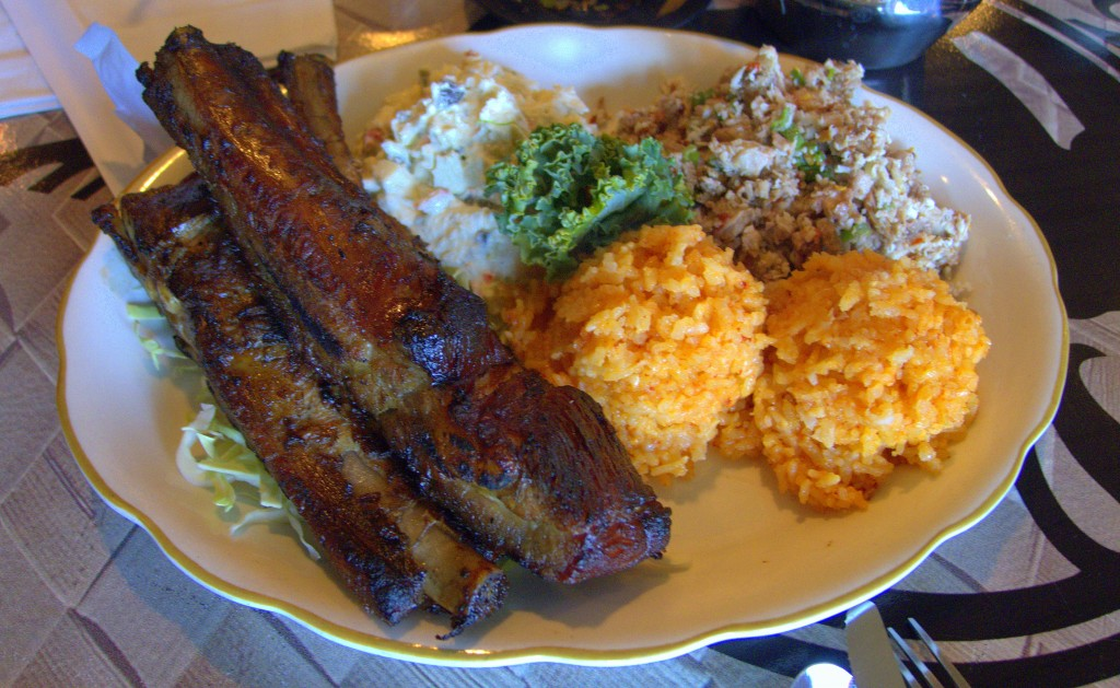 Frank's Ribs, Chicken Kelaguen, Red Rice, etc