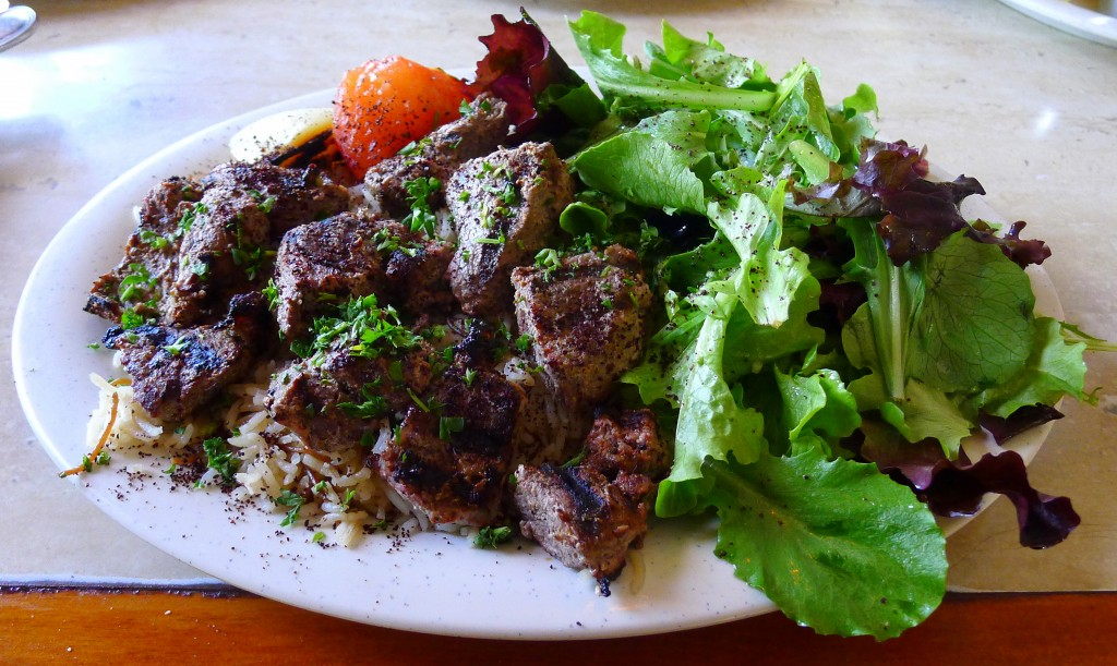 lamb kabob with basmati rice and salad 2