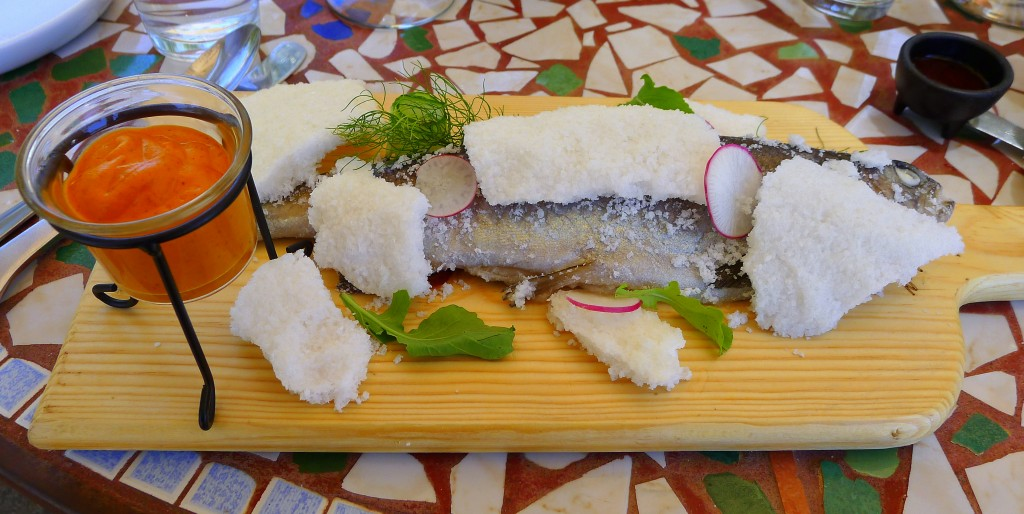 Salt crusted trout with remoulade