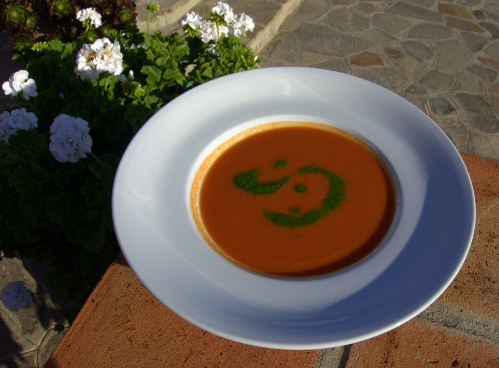 Gazpacho with cilantro oil