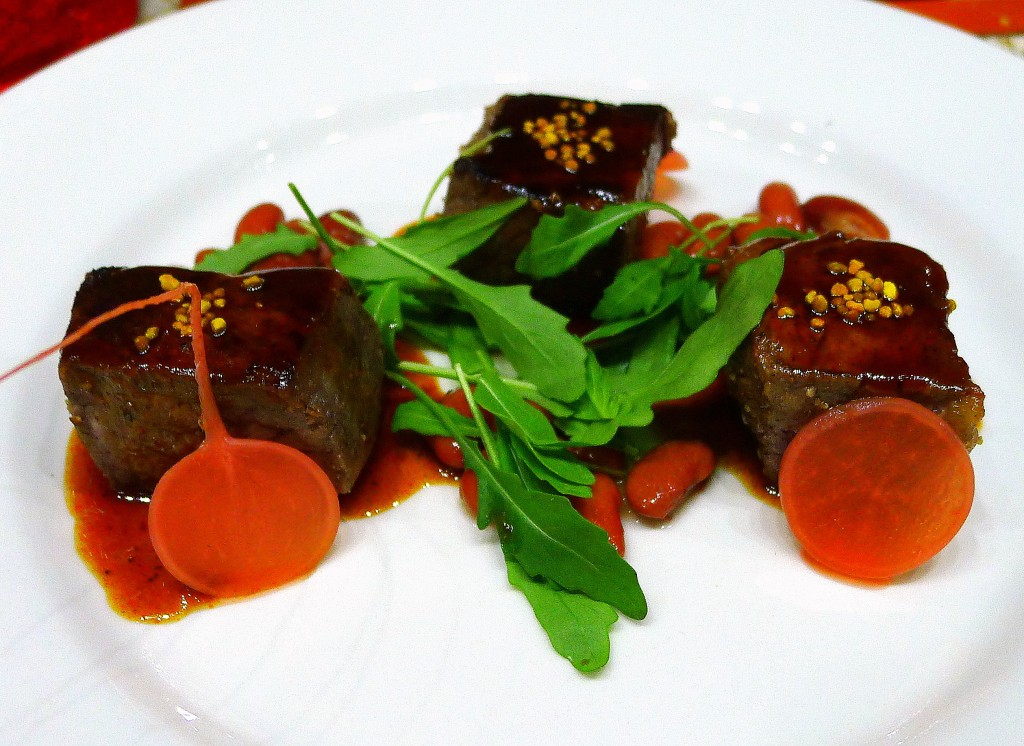 New York Steak with Guajillo-Honey Reduction, Bee Pollen and Pickled Radishes 2