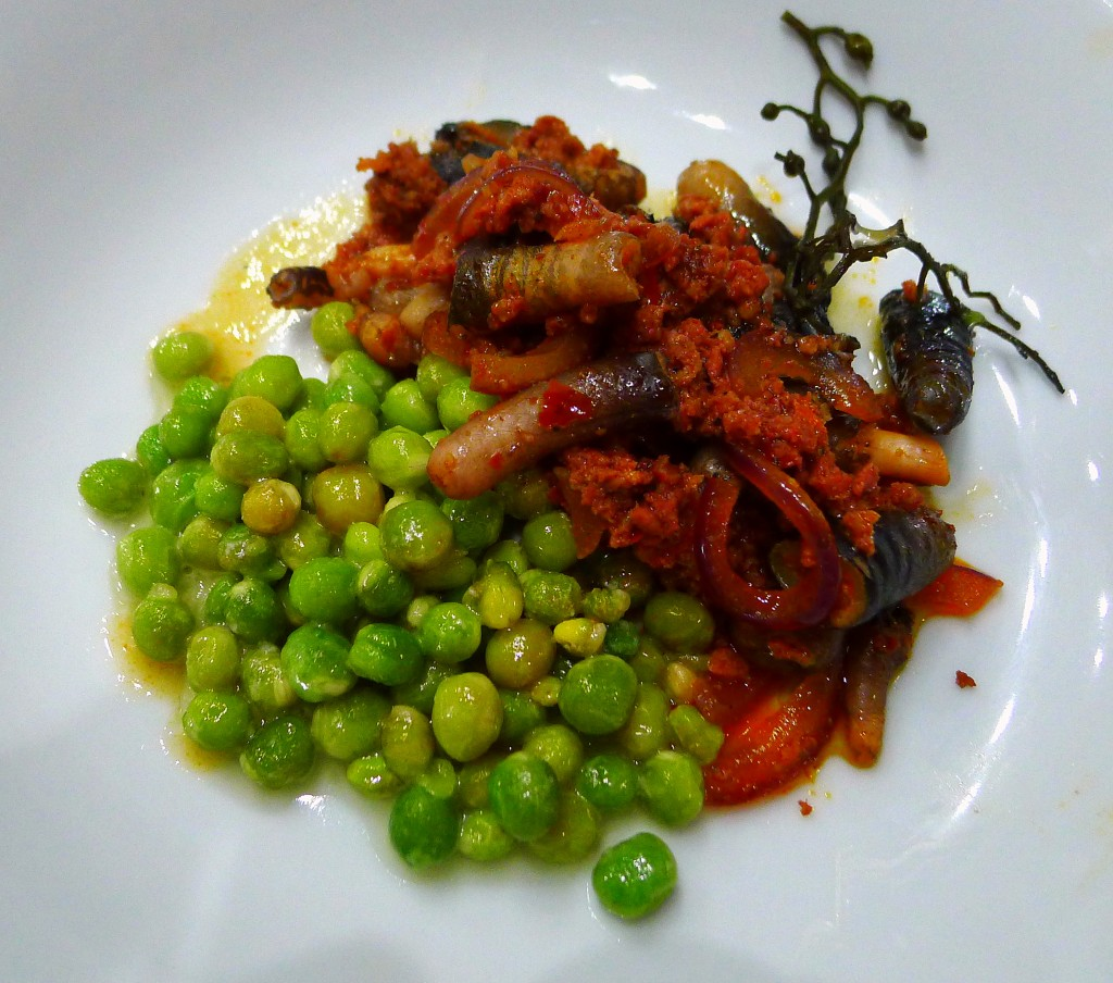 Percebes and Chorizo with Peas