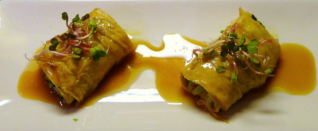 Yuba Rolls with Bean Sprouts, Pea Shoots and Yuzu Soy Sauce