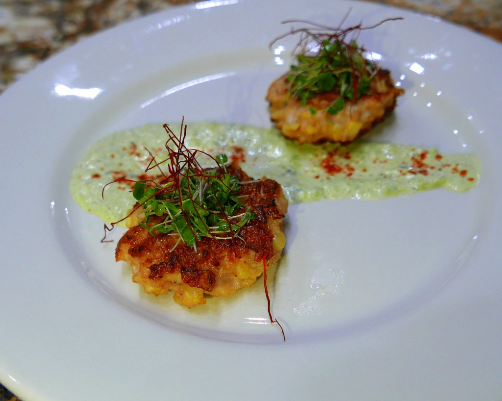 Shrimp and Corn Cakes with Poblano Crema and Korean Chili Threads 2