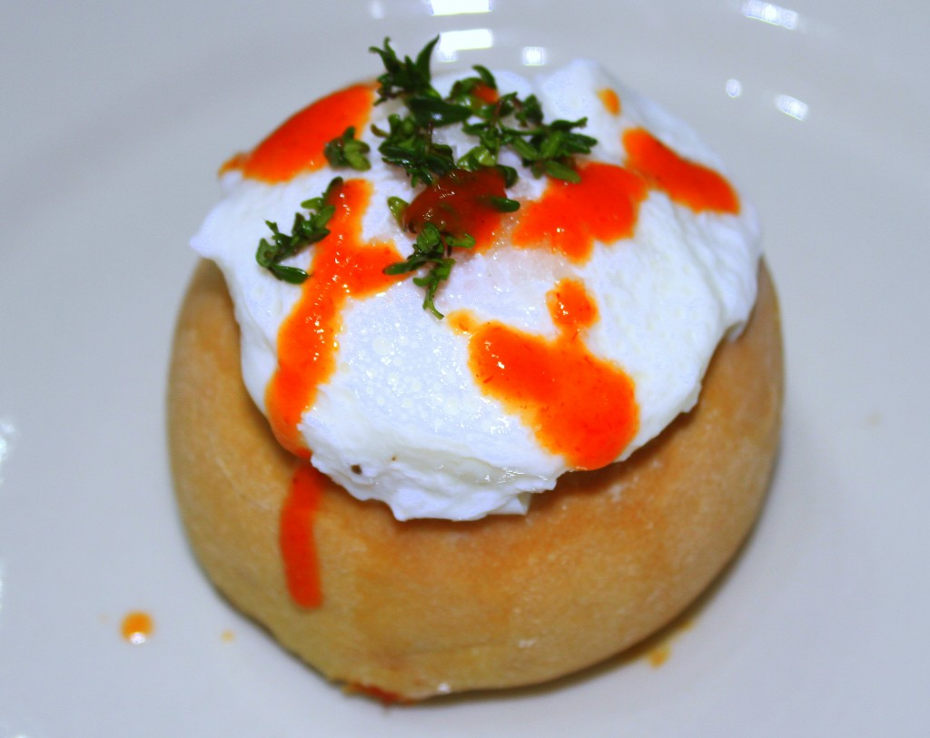 Smoked Yellowtail Knish with Poached Egg 1