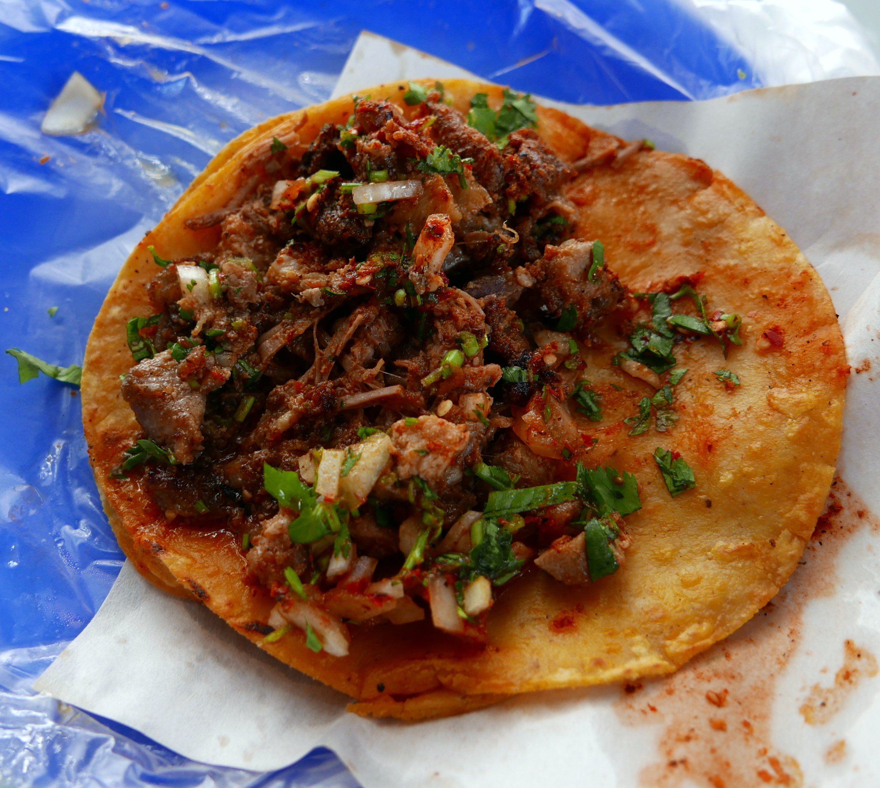 Birria and tripe taco