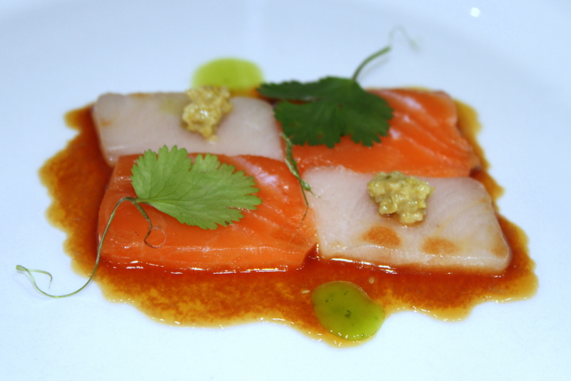 Salmon and yellowtail crudo | tapanade | tomato water | soy | lime 2