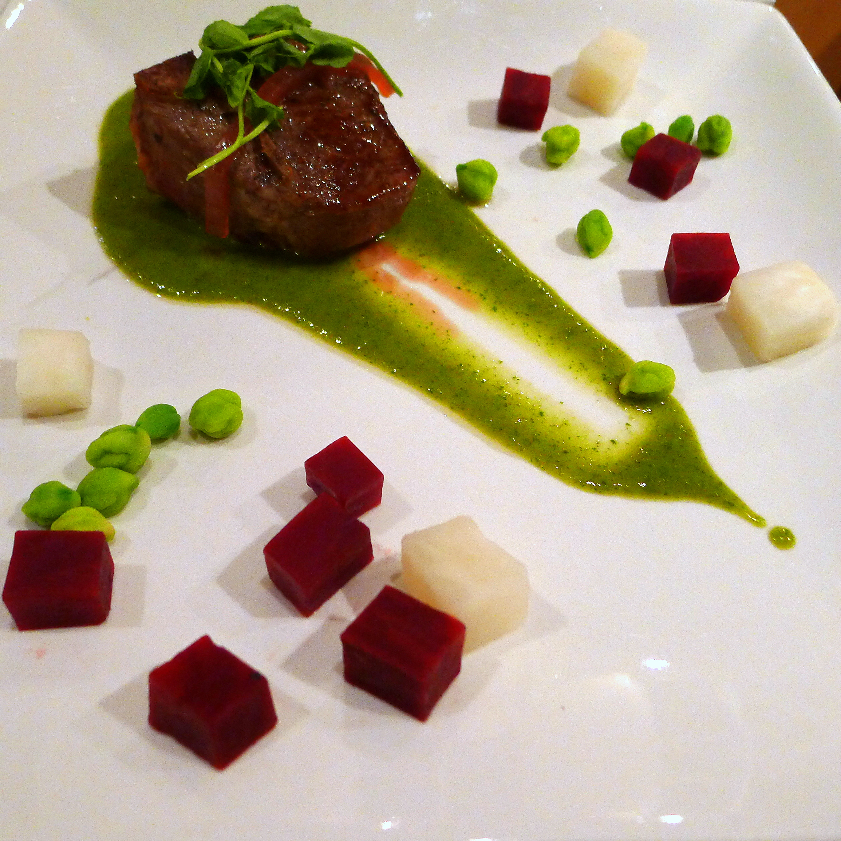 Lamb Chop with Beets, Turnip, Green Garbanzos and Sweet Pea-Mint Jus 2