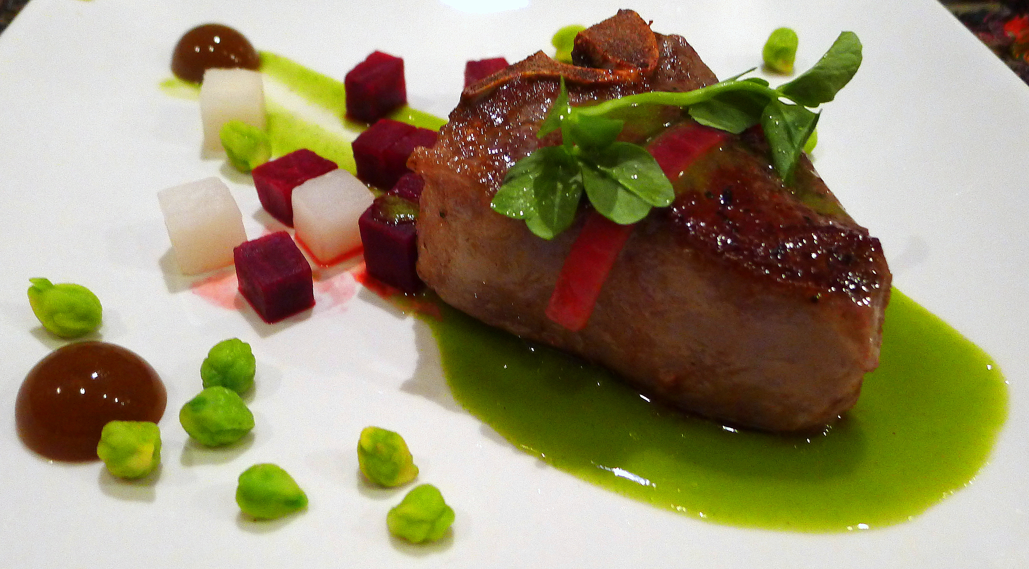 Lamb Chop with Beets, Turnip, Green Garbanzos and Sweet Pea-Mint Jus