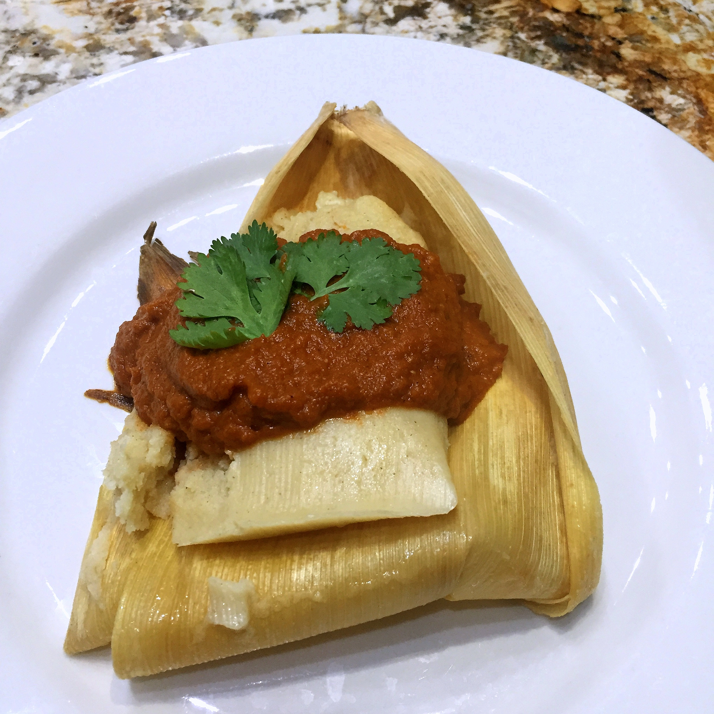 Pork, Poblano and Corn Tamales Roasted Tomato-Jalapeño Salsa 1