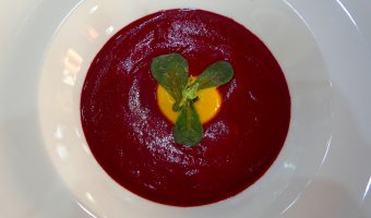 RECIPE: Roasted Beet Gazpacho | Yellow Pepper Purée | Pickled Purslane