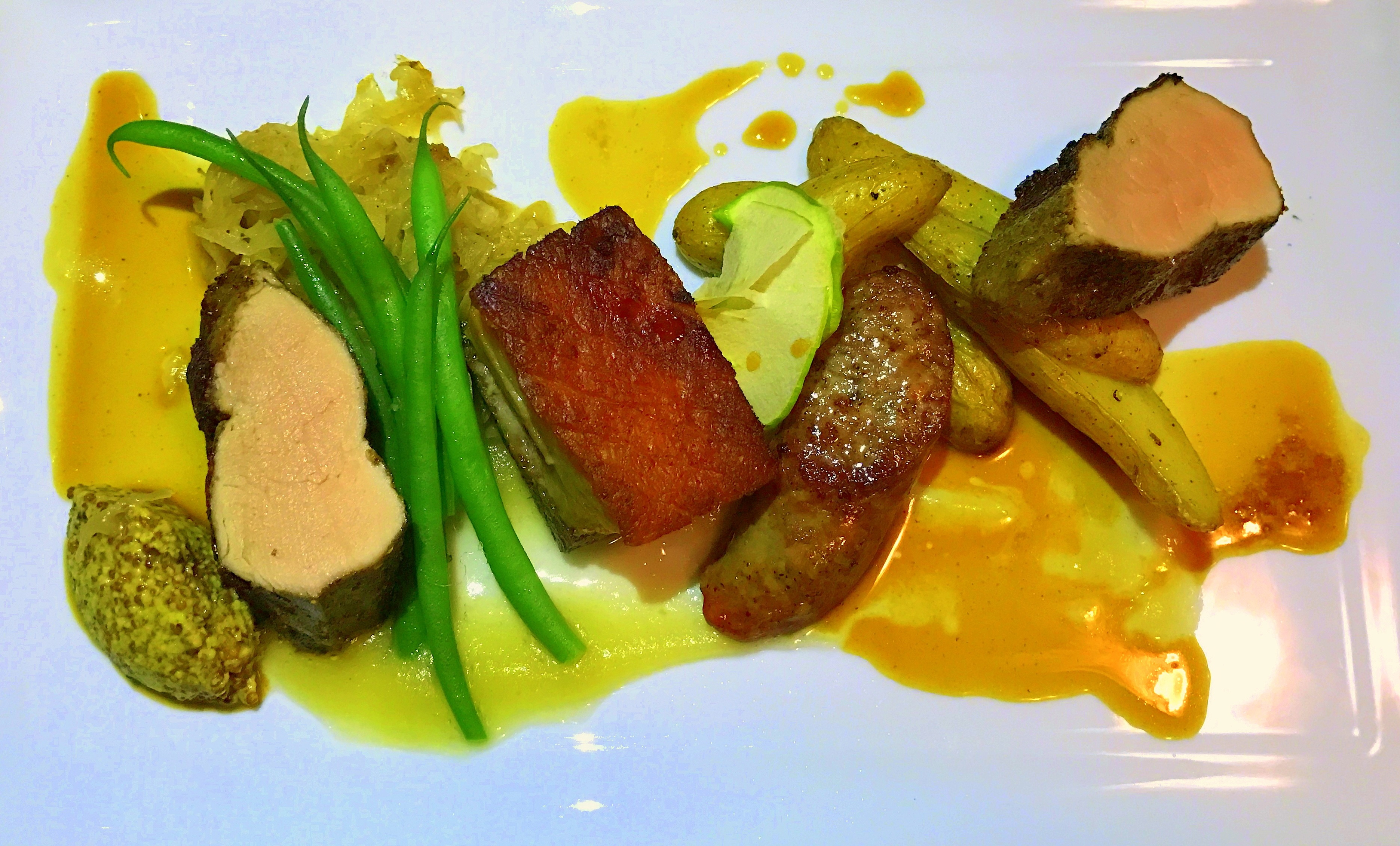 Pork belly confit & roasted spiced tenderloin of pork with house-made jagerwurst 2