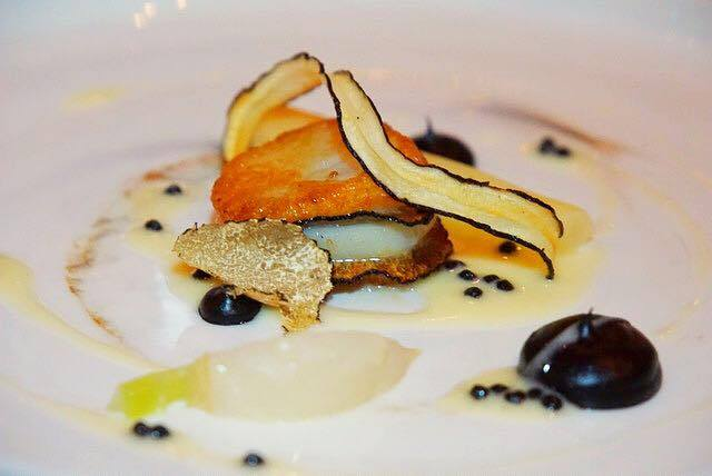 1500 Ocean's Day Boat Scallop with parsnip-truffle puree, braised baby turnip, salsify, truffle caviar sauce