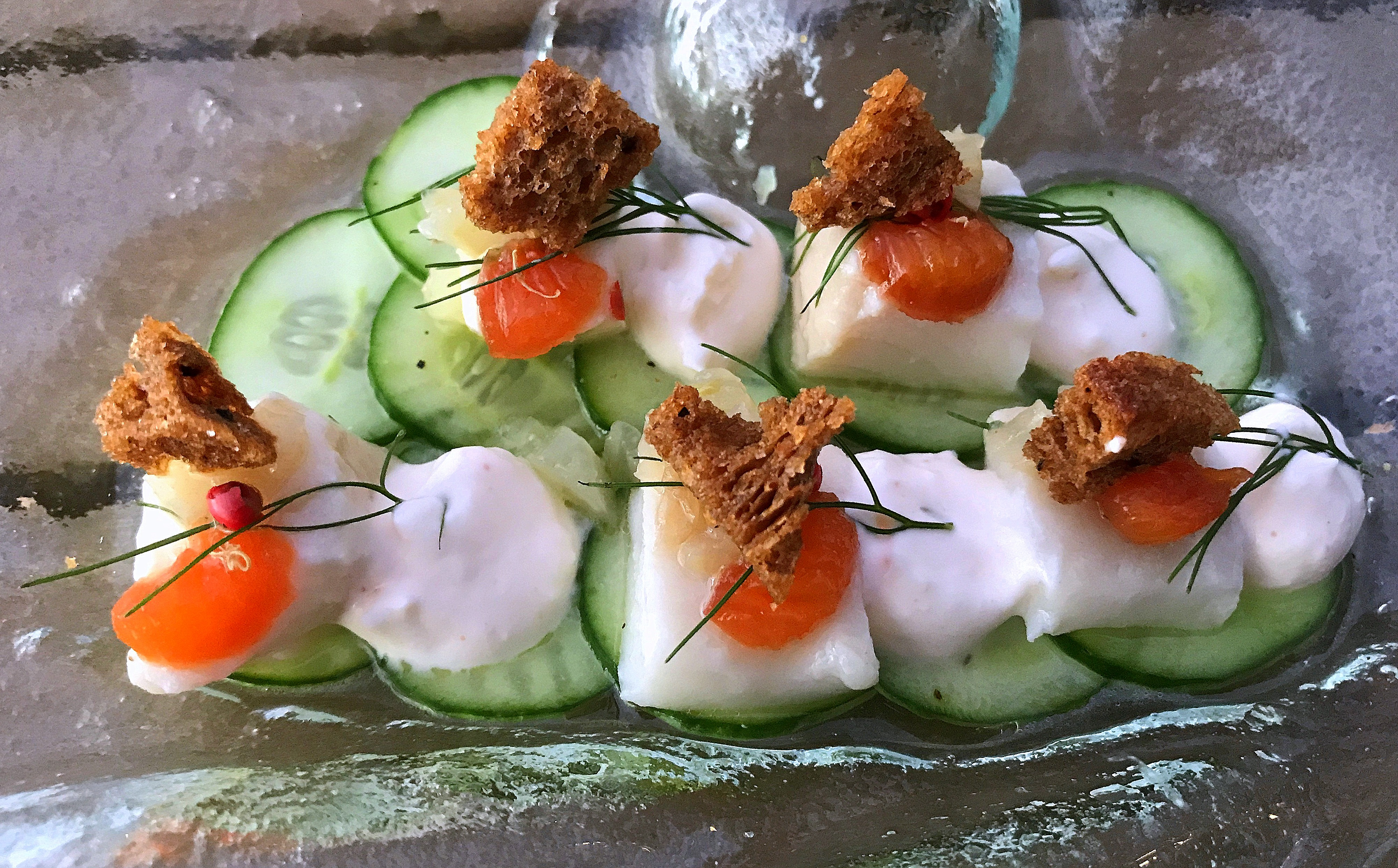 Pickled Black Cod with Persian Cucumber, Fennel, Preserved Plum, Horseradish Crema and Malted Toast