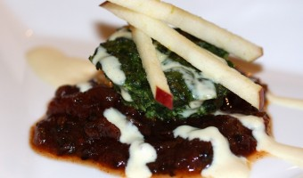 SPECIAL DELIVERY:  Spinach and Cheese Gateaux with Tomato Chutney, Apple and Dijon Crème Fraiche