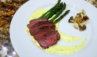 BADASS KOSHER:  Eggscellent — New York Steak with Béarnaise Sauce | Roast Asparagus | Brown and White Beech Mushrooms