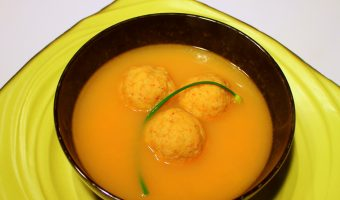 RECIPE:  Modernist Matzo Balls (Tomato Matzo Ball Soup with Pickled Garlic Chives)