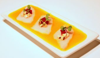 The Beautiful Bastard Stepchild of Ceviche & Sashimi:  Tiradito of Escolar with Roasted Beet and Corn